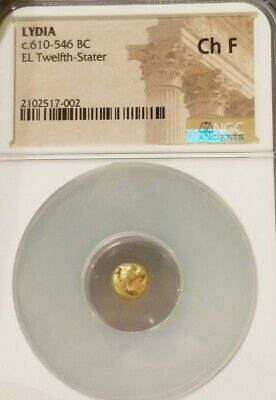 Lydia Kingdom 1/12th Gold Lion Stater NGC Choice Fine Ancient Coin