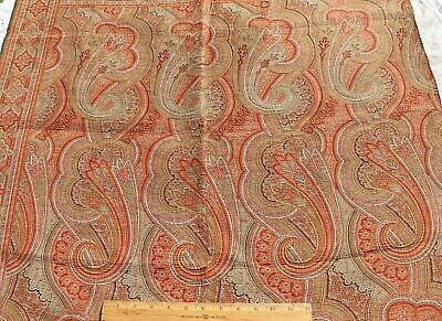 """Antique c1870  Double Woven Jacquard Wool Paisley Frame Shawl Fabric~35"""" X 34"""""""
