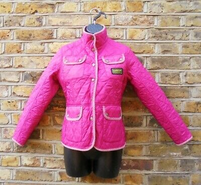 Barbour International Girls Pink Country Quilted Jacket Size L 10-11 Years Old