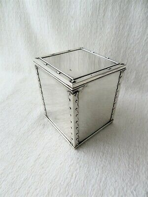 NOVELTY COLONIAL  SILVER TEA CADDY / CHEST HAMILTON & CO CALCUTTA BUDLA TEA 484g