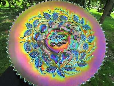 Northwood THREE FRUITS ANTIQUE CARNIVAL ART GLASS PLATE~GREEN~SPECTACULAR!