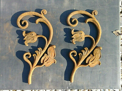 2 Vintage Cast Iron Architectural Salvage Fence Panels Vines Scrolls flowers