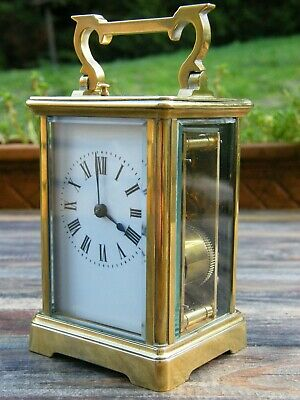 An Antique French 8 Day Brass Repeater Carriage Clock Working Order