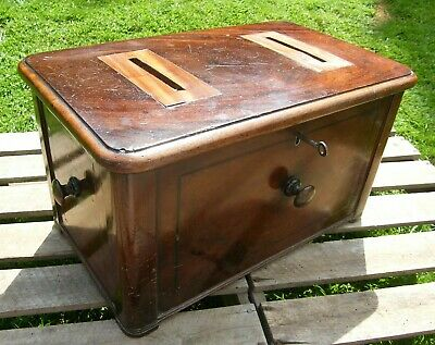 Rare Large Antique Wooden Ballot Leter Box With Lock & Key
