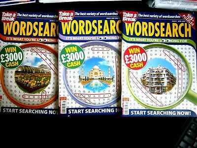 Take A Break WordSearch Puzzle Books X 3 Spring, April, May 2020 (New)