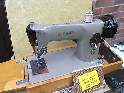 Vintage Singer 201K Aluminium Electric Sewing Machine with Case & Manual