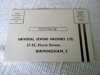 VINTAGE, 1950's, UNIVERSAL re-manufactured ELECTRIC SEWING MACHINE POSTCARD