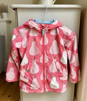 Mini Boden Girls Light Weight Summer Coat. Age 4-5 Years Pink With Pear Design.