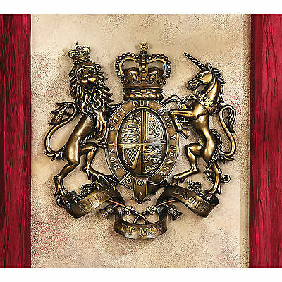 English Lion & Unicorn Royal Scotland Coat of Arms Great Britain Wall Sculpture