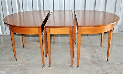 RARE Circa 1800 Federal Tiger Maple 3 Part Dining Table - From a Vermont Estate