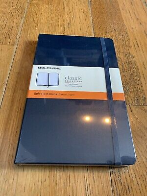 "Moleskine Classic Notebook, Hard Cover, Large (5 X 8.25"") Ruled/Lined- Dark Blue"