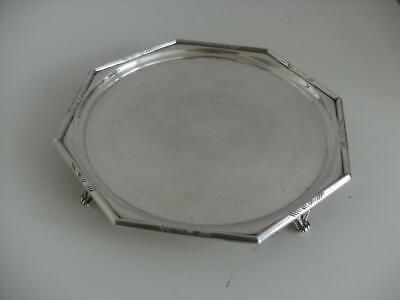 SUPERB ART DECO STERLING SILVER SALVER CARD TRAY DISH London 1929