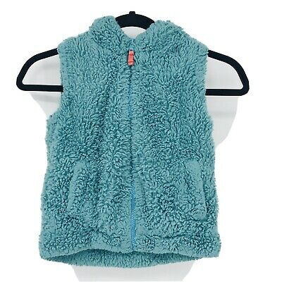 Mini Boden Youth Girls Size 5-6 Blue Sherpa Full Zip Vest Hooded Solid Pockets