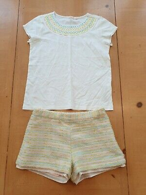 Billieblush Designer Girl's White Top, Shorts Outfit Size 8 - 9 Years