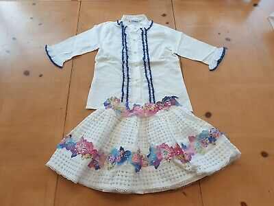 Naxos Spanish Designer Girl's White Shirt Top, Skirt Outfit Size 6 - 7 - 8 Years