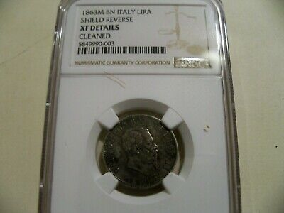 """Italy 1863M BN """"Shield Reverse"""" Lira silver coin NGC XF details"""