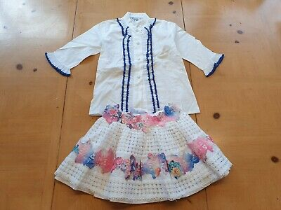 Naxos Spanish Designer Girl's White Shirt Top, Skirt Outfit Size 4 - 5 - 6 Years