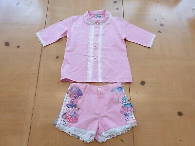 Naxos Spanish Designer Girl's Pink Shirt Top, Shorts Outfit Size 3 - 4 - 5 Years