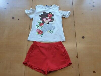 Mayoral Designer Girl's White Top, Red Shorts Summer Outfit Size 7 - 8 Years