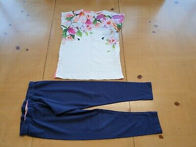 Ted Baker Designer Girl's Floral Top, Navy Leggings Outfit Age 9 - 10 Years