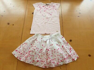 Adee Designer Girl's Pink Top, Hearts Skirt Summer Set Size 7 - 8 - 9 Years