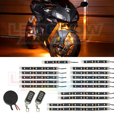 LEDGlow 16pc Advanced Orange LED Flexible Motorcycle Accent Neon Light Kit