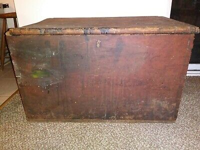 Early Red Painted Dovetailed Blanket Box c. 19th Century