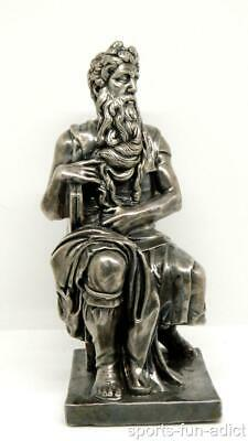 "Moses by Michelangelo Statue 8.5"" Sculpture Figurine Desk Decor Sterling Silver"
