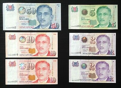 Singapore, Board Commissioners of Currency, Lot of 6 notes, $2,2,5,10,10,50 F-VF