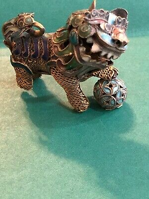 Vtg Filigree & Enamel Cloisonne Miniature Chinese Dragon Foo Dog 360° Head