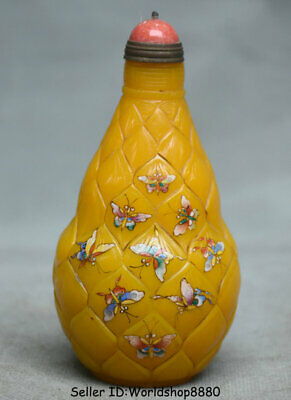 "4.2""Qianlong Mk Old China Yellow Coloured Glaze butterfly snuff bottle snuff box"