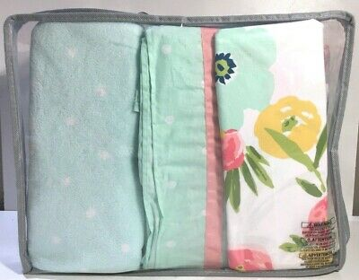 Cloud Island  Baby Girl Crib Bedding Set 4 Pieces Floral Fields, Pink Mint