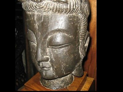 Antique Large Chinese Carved Stone Buddha Head 36 Lbs.