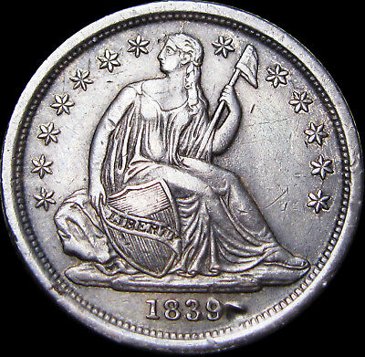 1839 Seated Liberty Dime Type Coin ----- STUNNING Details ----- #Z923