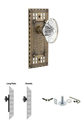 Craftsman Plate Single Dummy Oval Fluted Crystal Glass Door Knob in Antique Bras