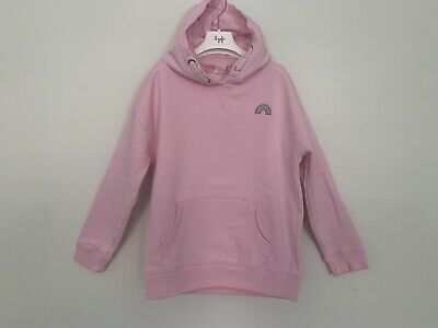Girls NEXT Age 10 Years Hoodie Pink Rainbow Long Sleeve
