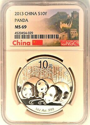 2013 China Silver S10Y Panda Uncirculated Mint State NGC MS69 China Label
