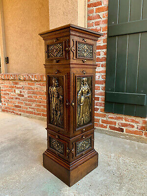 Antique English Oak Embossed Brass King PLANT STAND Square Bronze Pedestal
