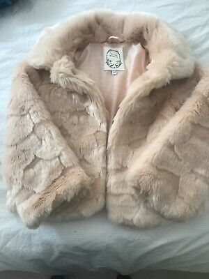 M&S Marks & Spencer Girl's Pink Faux Fake Fur Jacket Coat  Age  5-6 Years