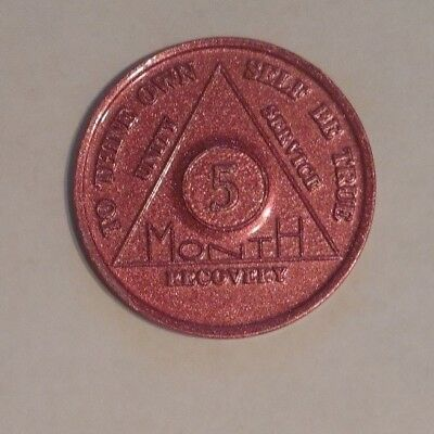 aa aluminum alcoholics anonymous 5 months sobriety chip coin token medallion