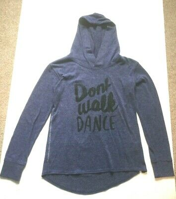 Girls Hooded Top Hoodie H&M Age 11-12 Navy Blue Long Sleeved Dance Slogan