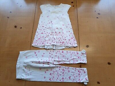 Adee Designer Girl's White Tunic Top, Hearts Leggings Outfit Age 7 - 8 Years
