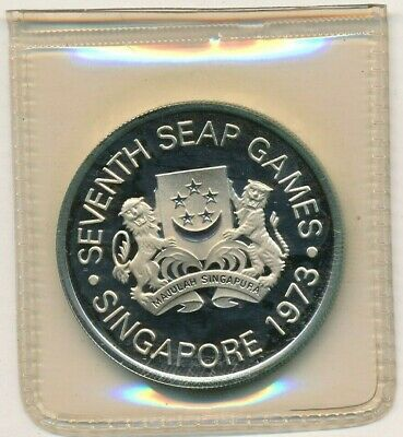 1973 Singapore Mint Proof $5 Silver Crown-7Th Seap Games-Coa & Box-Ships Free!