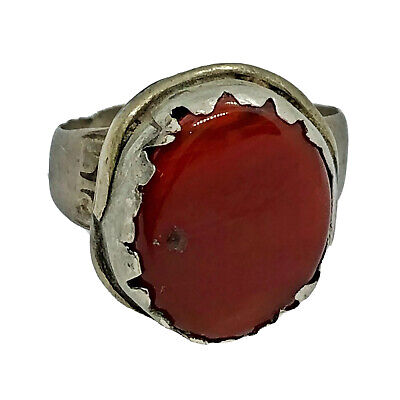 RARE Late Or Post Medieval Ring - Red Oval Stone - European Old Artifact Jewelry