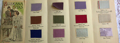 Antique Victorian Fashion & Fabric Silk Color Card Swatches Letter 1910 Suskana