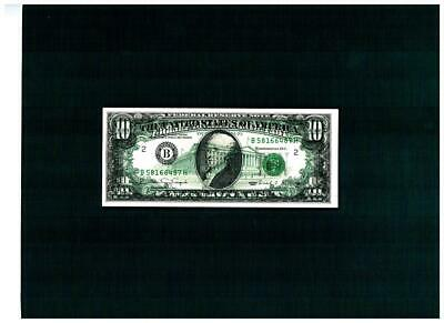 """$10.00 1990 Federal Reserve with """"FULL 100% B2F OFFSET & OVER INK of 1st""""~CHOICE"""