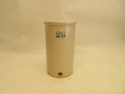 """Vintage Stoneware Crock/Jug Blue #29 w/Front Hole 8"""" Tall X 4-3/4"""" Great Cond"""