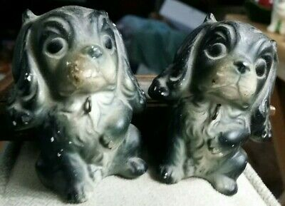 Vintage ceramic TWO PUPPIES DOGS figurines