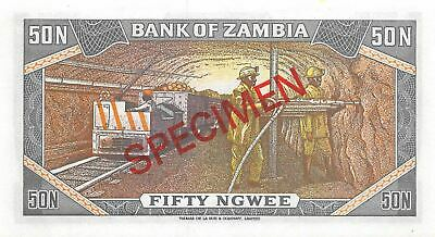Zambia  50  Ngwee ND. 1973  P 14s Series 1/A Specimen  Uncirculated Banknote LBC