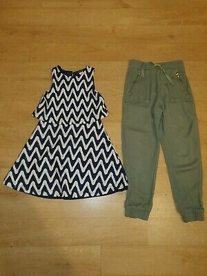 River Island navy & white dress, H&M Khaki bottoms age 5-6. VGC